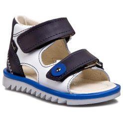 Sandały MRUGAŁA - 1106-71 Granat/Biały. Białe sandały chłopięce Mrugała, ze skóry. W wyprzedaży za 99,00 zł.