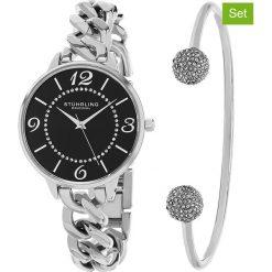 Bransoletki damskie: 2-częściowy zestaw zegarek i bransoletka w kolorze srebrno-czarnym