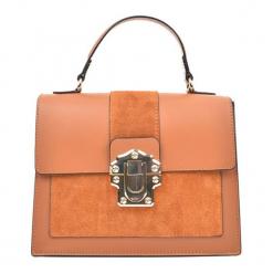 Skórzana torebka w kolorze pomarańczowym - (S)27 x (W)22 x (G)10,5 cm. Brązowe torebki klasyczne damskie Akcesoria na sylwestrową noc, w paski, z materiału. W wyprzedaży za 269,95 zł.