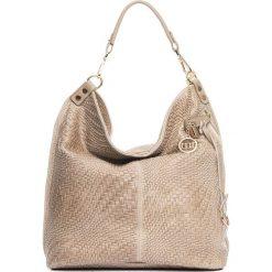 Shopper bag damskie: Skórzany shopper bag w kolorze szarobrązowym – 42 x 38 x 17 cm
