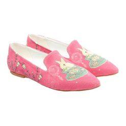 Mokasyny damskie: Lordsy w kolorze różowym ze wzorem
