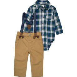 Chinosy chłopięce: Carter's BOY HOLIDAY PLAID SUSPENDER PANT BABY SET  Spodnie materiałowe green