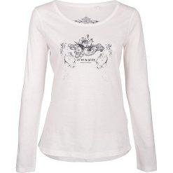 Koszulka w kolorze białym. Białe t-shirty damskie Dreimaster, xs, z nadrukiem, z okrągłym kołnierzem. W wyprzedaży za 64,95 zł.