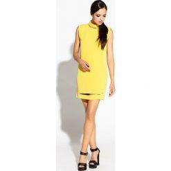 Limonkowa Sukienka Mini z Wycięciami. Białe sukienki hiszpanki Molly.pl, na randkę, l, z poliesteru, wizytowe, z dekoltem na plecach, bez rękawów, mini, proste. Za 209,90 zł.