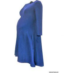 Sukienki ciążowe: Sukienka ciążowa klosz dłuższy tył niebieska