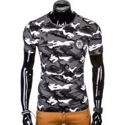 T-SHIRT MĘSKI Z NADRUKIEM S1010 - SZARY/MORO. Czarne t-shirty męskie z nadrukiem marki Ombre Clothing, m, z bawełny, z kapturem. Za 35,00 zł.