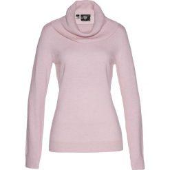 Golfy damskie: Sweter z szerokim golfem bonprix matowy jasnoróżowy