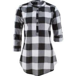 Tuniki damskie: Tunika koszulowa w kratę bonprix czarno-biały w kratę