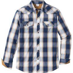 Koszula z długim rękawem Regular Fit bonprix niebieski w kratę. Niebieskie koszule męskie na spinki bonprix, l, z długim rękawem. Za 74,99 zł.
