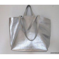 Torebki i plecaki damskie: Srebrna skórzana torba na ramię-Sale