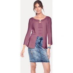 Kardigany damskie: Sweter rozpinany w kolorze fioletowym