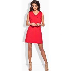Sukienki: Sportowa Czerwona Sukienka z Kieszonką