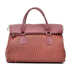 Torebki i plecaki damskie: Skórzana torebka w kolorze bordowym – (S)29 x (W)38 x (G)14 cm