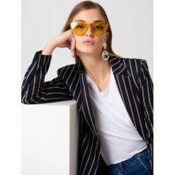 Okulary przeciwsłoneczne damskie aviatory: NA-KD Urban Okulary przeciwsłoneczne z okrągłymi szkłami – Yellow