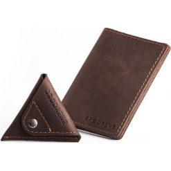 Portfele męskie: Komplet: portfel + bilonówka Brodrene ciemny brąz