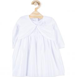 Sukienka. Białe sukienki dziewczęce z falbanami CHRISTENING GIRL, z aplikacjami, z bawełny, eleganckie. Za 99,90 zł.