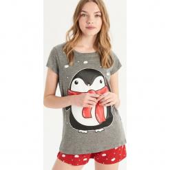 Dwuczęściowa piżama z pingwinem - Szary. Szare piżamy damskie Sinsay, l. Za 39,99 zł.