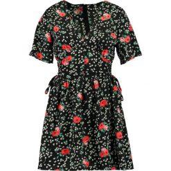 Sukienki: Missguided FLORAL PRINTED SHORT SLEEVE SIDE SKATER DRESS Sukienka letnia black