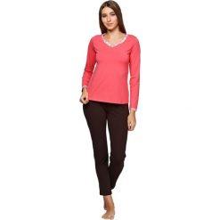 Piżamy damskie: Piżama w kolorze brązowo-koralowym – bluzka, spodnie