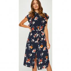 Answear - Sukienka. Szare długie sukienki marki ANSWEAR, na co dzień, m, w paski, z materiału, casualowe, z krótkim rękawem, proste. W wyprzedaży za 139,90 zł.