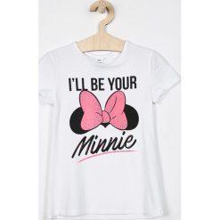 Blukids - Top dziecięcy Disney Mickey Mouse 134-164 cm. Szare bluzki dziewczęce marki Blukids, z motywem z bajki, z bawełny, z okrągłym kołnierzem. Za 49,90 zł.
