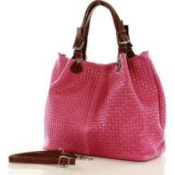 Shopper bag damskie: Skórzana torebka shopper MAZZINI FLORENCE fuksja