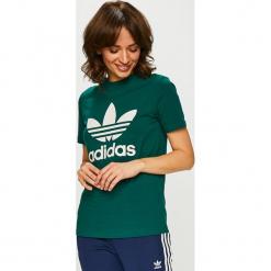 Adidas Originals - Top. Szare topy damskie marki adidas Originals, na co dzień, z nadrukiem, z bawełny, casualowe, z okrągłym kołnierzem, proste. Za 129,90 zł.
