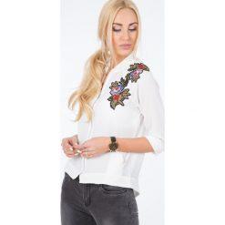 Kremowa Bluza z Haftowanymi Naszywkami 21045. Białe bluzy damskie Fasardi, l, z aplikacjami. Za 59,00 zł.