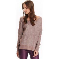 Swetry klasyczne damskie: SWETER DŁUGI RĘKAW DAMSKI, CIENKI LUŹNY Z DEKOLDEM W SEREK NA PLACACH