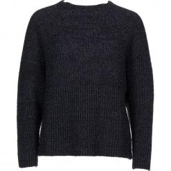Sweter w kolorze niebiesko-czarnym. Czarne swetry klasyczne damskie Gottardi, s, prążkowane, z okrągłym kołnierzem. W wyprzedaży za 173,95 zł.