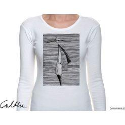 Bluzki, topy, tuniki: Prążki - damska koszulka z długim rękawem