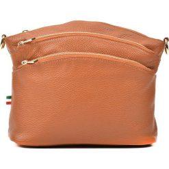 Torebki klasyczne damskie: Skórzana torebka w kolorze koniaku – 29 x 22 x 10 cm