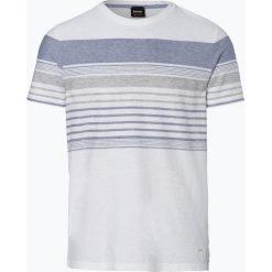 BOSS Casual - T-shirt męski z dodatkiem lnu – Tilak, czarny. Czarne t-shirty męskie BOSS Casual, m, w paski. Za 399,95 zł.