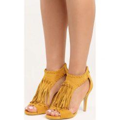 Camelowe Sandały Big Step. Brązowe sandały damskie na słupku marki Born2be, z materiału, na wysokim obcasie. Za 89,99 zł.