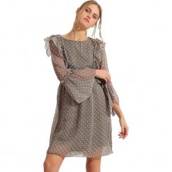 Sukienka w kolorze szarym. Szare długie sukienki marki Almatrichi, s, z okrągłym kołnierzem, z długim rękawem, proste. W wyprzedaży za 169,95 zł.