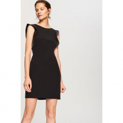 Elegancka sukienka - Czarny. Białe sukienki balowe marki numoco, do pracy, l, z nadrukiem, z elastanu, z kopertowym dekoltem, z długim rękawem, kopertowe. Za 119,99 zł.