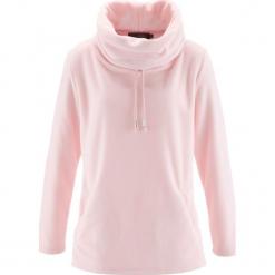 Sweter z polaru bonprix pastelowy jasnoróżowy. Czerwone swetry klasyczne damskie bonprix, z polaru. Za 74,99 zł.