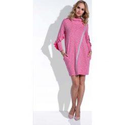 Amarantowa Sukienka Mini z Falbankami na Rękawach Uszyta. Czerwone sukienki asymetryczne marki Molly.pl, na spacer, m, melanż, z dzianiny, z asymetrycznym kołnierzem, mini. W wyprzedaży za 98,00 zł.