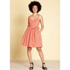 Sukienki hiszpanki: Sukienka midi, rozszerzana, rozkloszowana, z graficznym nadrukiem