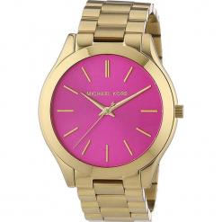 """Zegarek kwarcowy """"Slim Runway"""" w kolorze różowo-złotym. Żółte, analogowe zegarki damskie marki Michael Kors, ze stali. W wyprzedaży za 413,95 zł."""