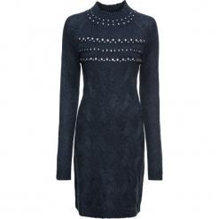Sukienka dzianinowa z połyskującymi kamieniami bonprix ciemnoniebieski. Czarne długie sukienki marki bonprix, w koronkowe wzory. Za 99,99 zł.