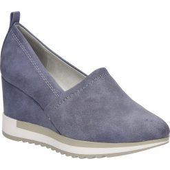 Półbuty na koturnie Marco Tozzi 2-24717-38. Szare buty ślubne damskie marki Marco Tozzi, na koturnie. Za 119,99 zł.
