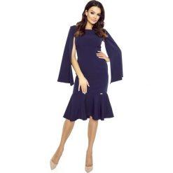 Sukienki: Granatowa Sukienka Wizytowa z Falbanką