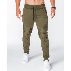 SPODNIE MĘSKIE DRESOWE P644 - KHAKI. Czarne spodnie dresowe męskie marki Ombre Clothing, m, z bawełny, z kapturem. Za 55,00 zł.