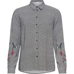 Bluzka z haftem bonprix czarno-biały w kratę. Białe bluzki longsleeves marki bonprix, z nadrukiem. Za 109,99 zł.