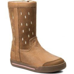 Kozaki dziewczęce: Kozaki CLARKS – Lilfolkglo Inf 261269836 Tan Leather