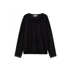 Welurowa bluza. Czarne bluzy rozpinane damskie Promod, z weluru, z długim rękawem, długie. Za 99,90 zł.