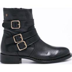 Tommy Hilfiger - Botki. Czarne buty zimowe damskie TOMMY HILFIGER, z materiału, na obcasie. W wyprzedaży za 499,90 zł.