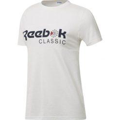 Reebok Classic Tee Koszulka damska biały. Szare bluzki damskie marki Reebok, l, z dzianiny, z okrągłym kołnierzem. Za 74,90 zł.