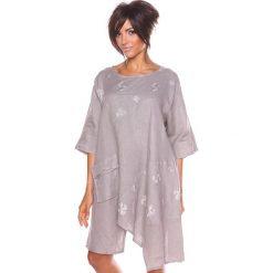 """Sukienki asymetryczne: Lniana sukienka """"Cerise"""" w kolorze szarobrązowym"""